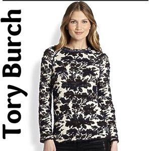 Tory Burch Devon Sweater Black Cream Medium Auth